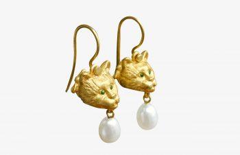 Tier-Ohrringe: Katze, Perle, Tsavorit, 750er Gold