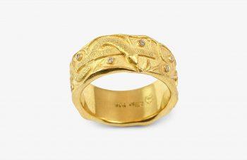 Tier-Ringe: Äskulapnatter, 750er Gold, Diamanten