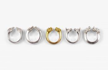 Tier-Ringe: Doppekopfring, Silber, 750er Gold