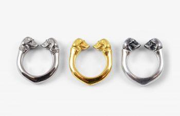 Tier-Ringe: Totenkopfring ( vielleicht vom Affen ) Silber, 750er Gold