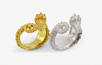 Tier-Ringe: Seepferdchenring, 750er Gold, Silber