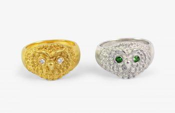 Tier-Ringe: Eulenring, 750er Gold, Silber