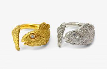 Tier-Ringe: Fischring, 750er Gold, Silber
