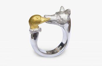 Tier-Ringe: Fuchs du hast diie Gans gestohlen, Silber, 750er-Gold