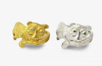 Tier-Ringe: Lemurring, 750er Gold, Silber