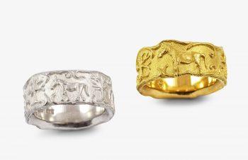 Tier-Ringe: Pferdering, 750er Gold