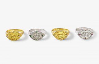 Tier-Ringe: Tierring Amulett, 750er Gold, Silber
