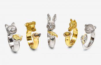 Tier-Ringe, verschiedene Tiere, 750er Gold, Silber, Diamanten