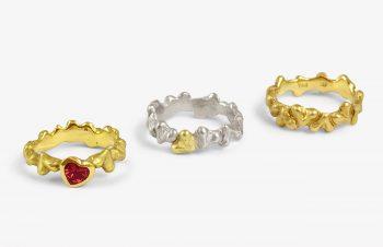 Verliebt, Verlobt, Verheiratet: Herzringe, 750er Gold, Saphir, Silber