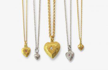 Klassische Anhänger: Herzen, Gold, Diamanten