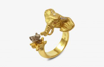 Tier-Ringe: Elefant und Maus, 750er Gold, Diamanten