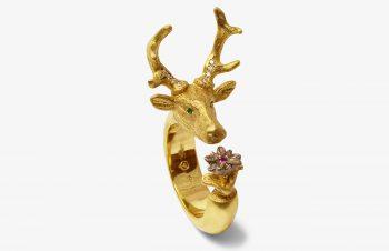 Tier-Ringe: Hirsch und Edelweiß, 750er Gold, Diamant, Saphir