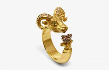 Tier-Ringe: Widder und Blüte, 750er Gold, Diamant, Tsavorit