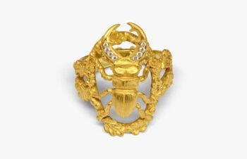 Tier-Ringe: Hirschkäfer, 750er Gold, Diamanten