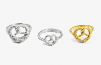 Aufgebrezelt: Brezen-Ring, 750er Gold, Silber