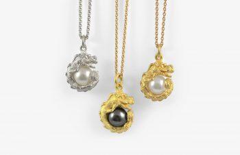 Tier-Anhänger: Drache, Perle, 750er Gold, Silber