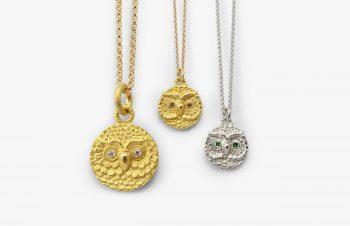 Tier-Anhänger: Eulentaler, 750er Gold, Silber, Diamant, Tsavorit