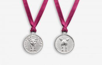 Tier-Anhänger: Glücksschweintalter, Vorder- und Rückseite, 925 Silber