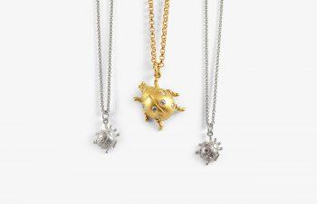 Tier-Anhänger: Käfer, 750er Gold, Silber