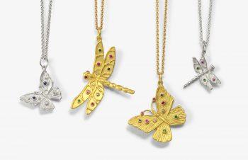 Tier-Anhänger: Schmetterling, Libelle, 750er Gold, Silber, Edelsteine