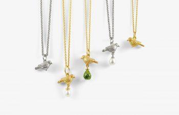 Tier-Anhänger: Vögel, 750er Gold, Silber, Perle, Peridot