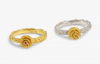 erliebt, Verlobt, Verheiratet:Verlobungsring Rose 750er Gold, Silber