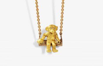 Tier-Anhänger: Affenschaukel, 750er Gold