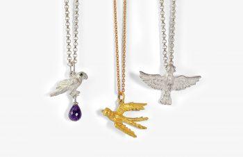 Tier-Anhänger: Vögel, 750er Gold, Silber