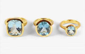 Klassische Ringe: Aquamarin, 750er Gold