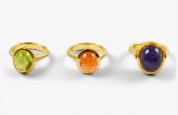 Klassische Ringe: Peridot, Mandaringranat, Tansanit, 750er Gold