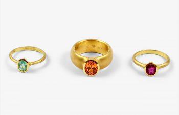 Klassische Ringe: Paraiber Turmalin, Mandaringranat, Turmalin, 750er Gold
