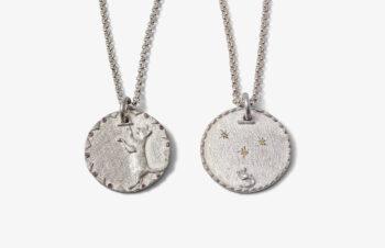 Tier-Anhänger: Tier-Anhänger: Katz und Maus, Vorder- und Rückseite, 925 Silber, Vorder- und Rückseite, 925 Silber