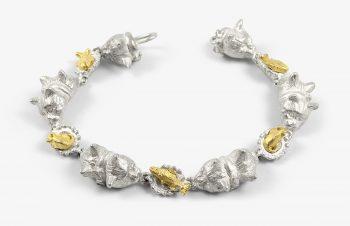 Tier-Armbänder: Katzen mit Napf, 750er Gold, Silber